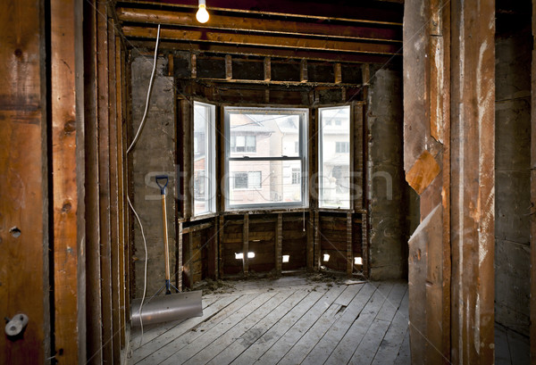 Home interior gutted for renovation Stock photo © elenaphoto