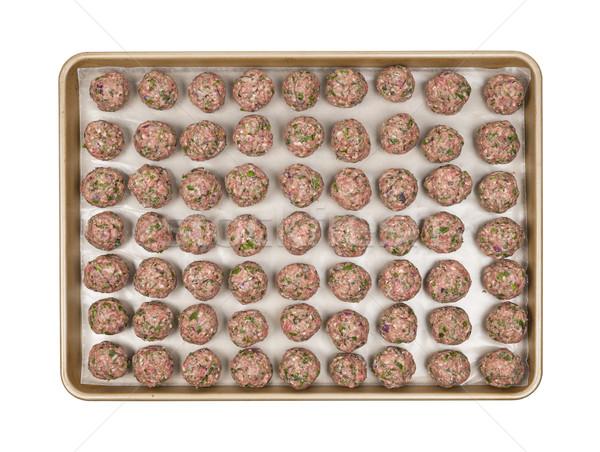 Dienblad gehaktballetjes koken bereid eigengemaakt Stockfoto © elenaphoto