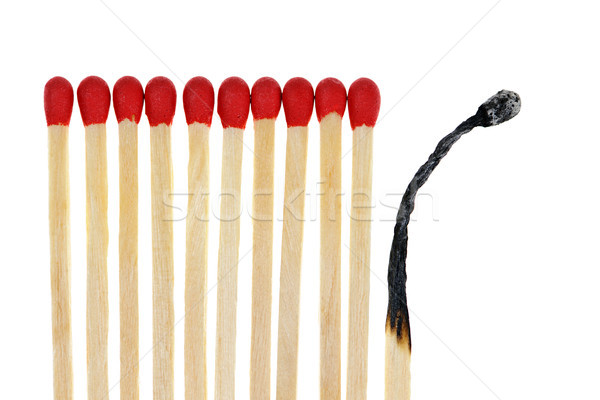 Matches with one burned out Stock photo © elenaphoto