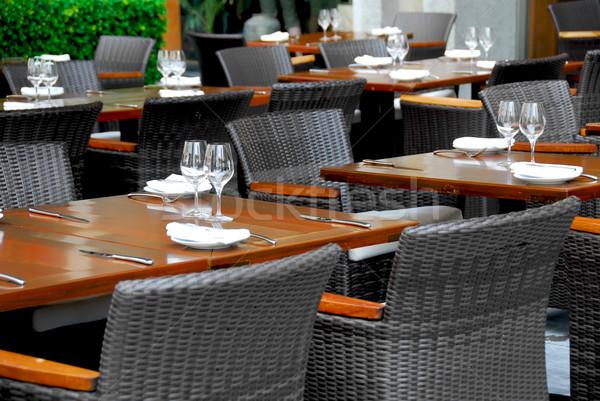 Restauracji żywności miasta szkła okulary krzesło Zdjęcia stock © elenaphoto