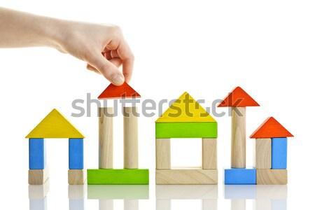 Bina ahşap evler inşaat yalıtılmış Stok fotoğraf © elenaphoto