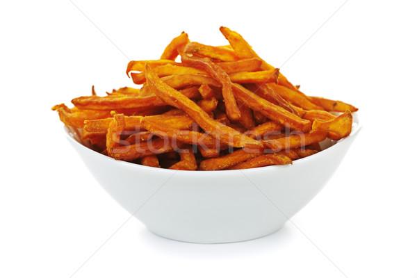 Zoete aardappel frietjes kom geïsoleerd witte achtergrond Stockfoto © elenaphoto