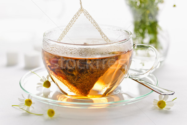 Herbal tea in glass cup Stock photo © elenaphoto