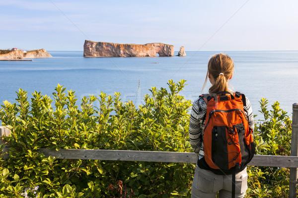 Female hiker viewing Perce Rock Stock photo © elenaphoto
