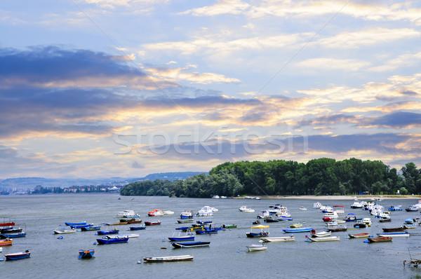 川 ボート ドナウ川 多くの 小 釣り ストックフォト © elenaphoto