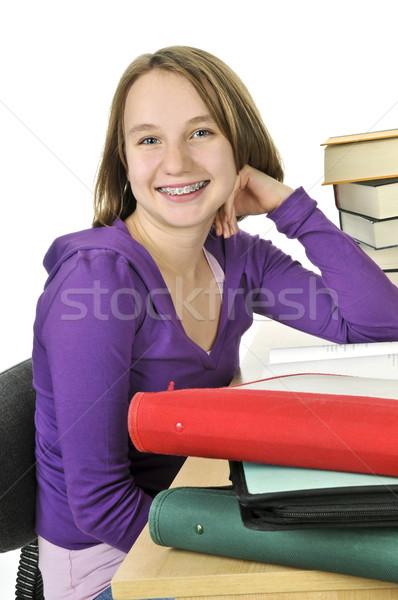 十代の少女 勉強 幸せ デスク 少女 笑顔 ストックフォト © elenaphoto