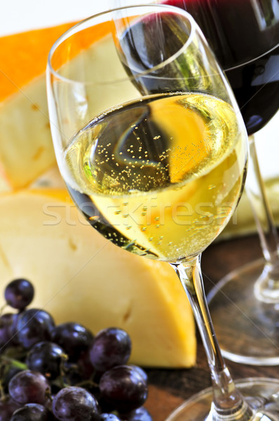 Stok fotoğraf: şarap · peynir · kırmızı · beyaz · şarap · cam