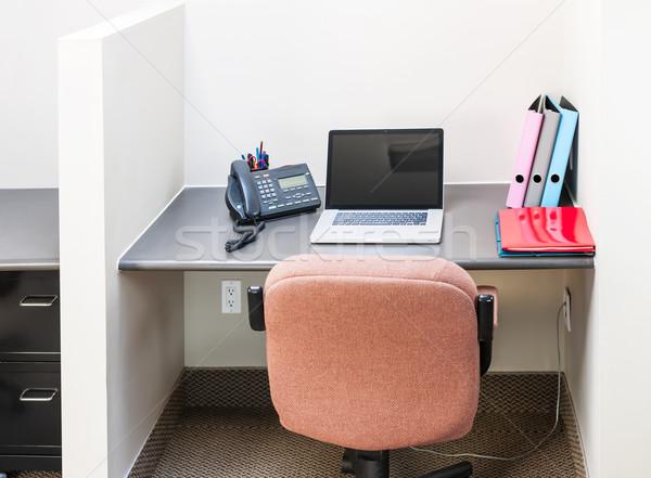 Ofis dizüstü bilgisayar İş İstasyonu sandalye büro Stok fotoğraf © elenaphoto