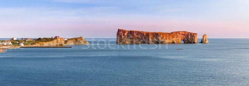 Perce Rock panorama at sunset Stock photo © elenaphoto