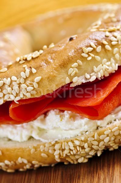 Gerookte zalm room kaas vers voedsel Stockfoto © elenaphoto