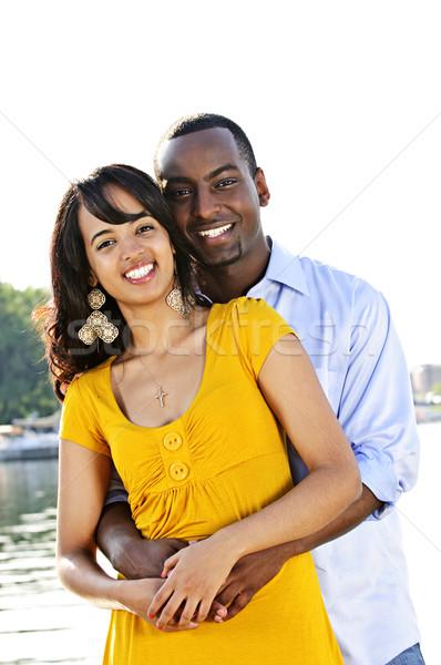 Mutlu çift sahil genç romantik Stok fotoğraf © elenaphoto