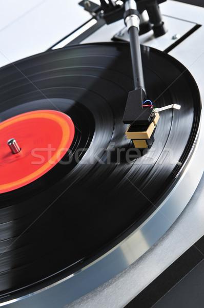 Record draaitafel vinyl muziek tabel Stockfoto © elenaphoto