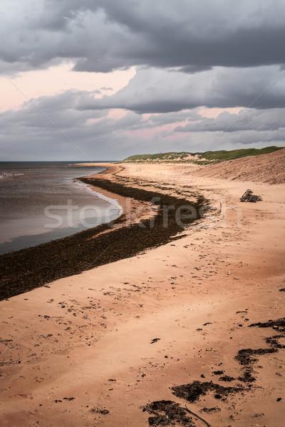 Playa vista nubes de tormenta puesta de sol isla del príncipe eduardo Canadá Foto stock © elenaphoto