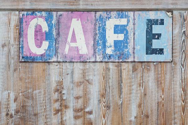 Oude verweerde cafe teken rustiek hout Stockfoto © elenaphoto