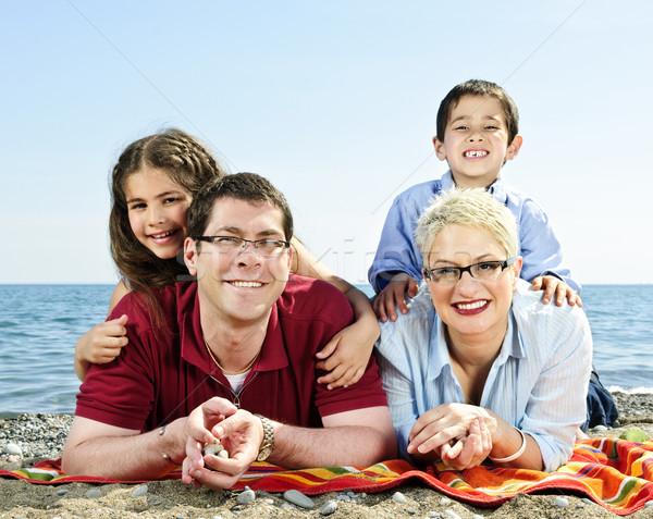 Stok fotoğraf: Mutlu · aile · plaj · havlu · aile