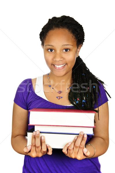 Foto stock: Menina · texto · livros · isolado · retrato