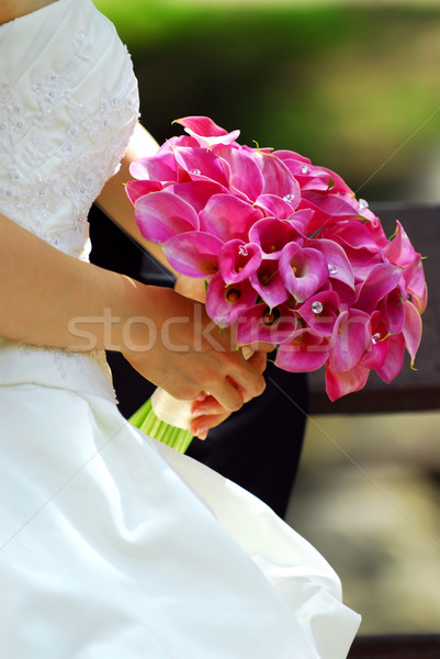 Bride with bouquet Stock photo © elenaphoto