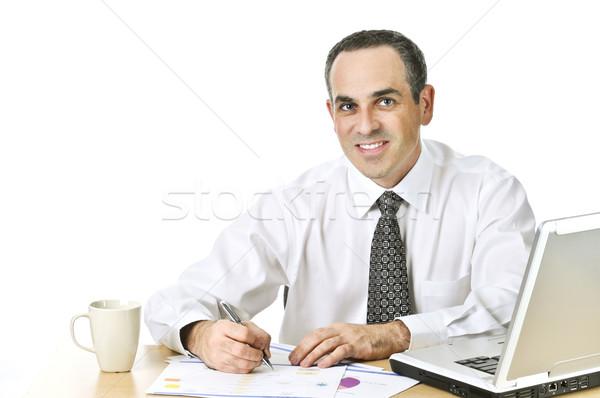 Stockfoto: Kantoormedewerker · studeren · rapporten · gelukkig · algemeen · bureau