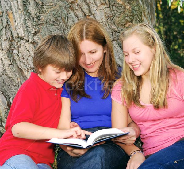 Család olvas könyv anya gyerekek fa Stock fotó © elenaphoto