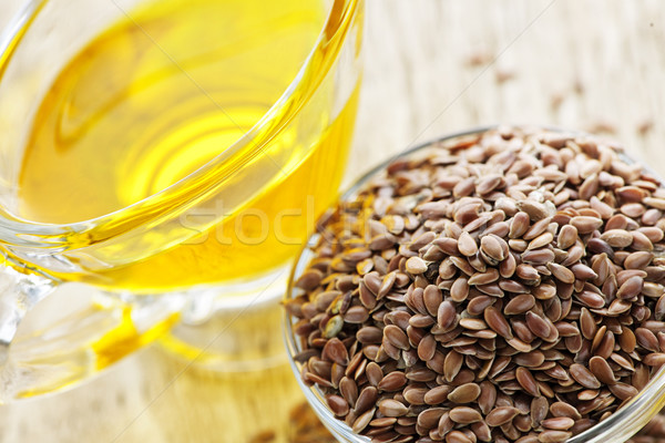 Brown flax seed and linseed oil Stock photo © elenaphoto