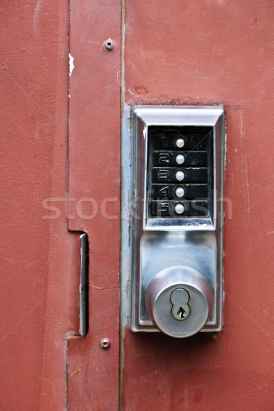Security lock on metal door Stock photo © elenaphoto