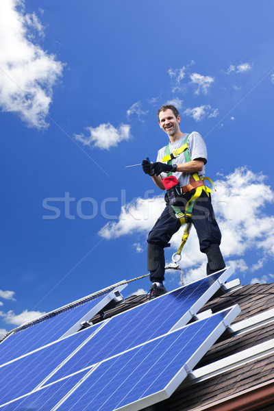 Solar panel installation Stock photo © elenaphoto