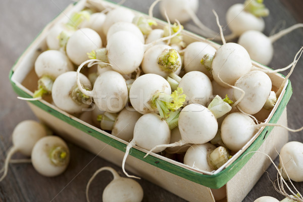 Basket of small turnips Stock photo © elenaphoto