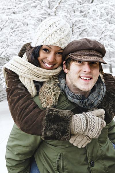 Pár szórakozás kívül tél portré háton Stock fotó © elenaphoto