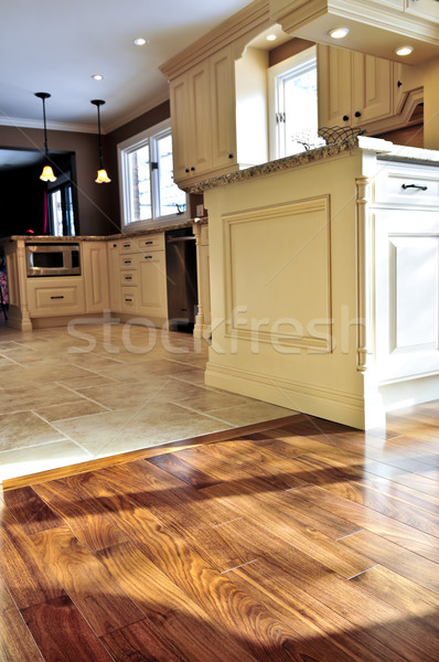 Hardwood  and tile floor Stock photo © elenaphoto