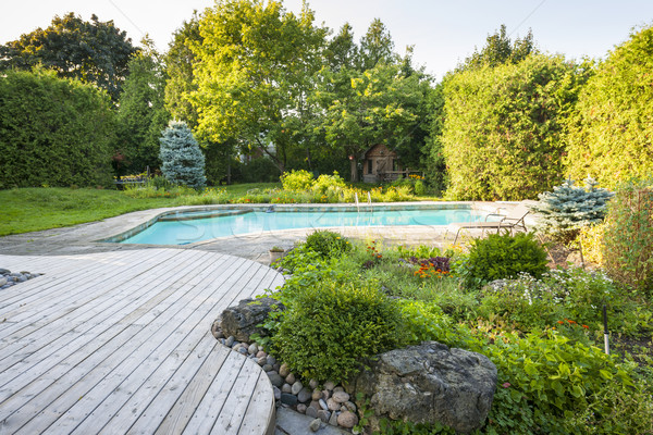 Ogród basen podwórko rock zewnątrz mieszkaniowy Zdjęcia stock © elenaphoto