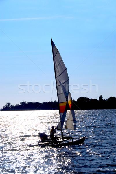 Vela barco catamarán cielo mar color Foto stock © elenaphoto
