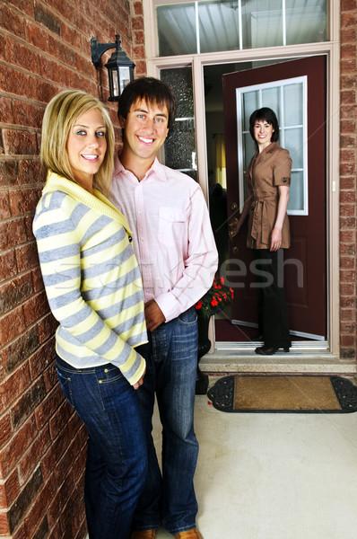 Boldog pár ingatlanügynök új otthon nő férfi Stock fotó © elenaphoto
