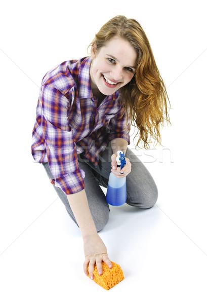 Young woman washing floor Stock photo © elenaphoto