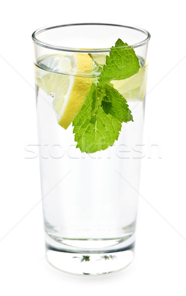 Glass of water with lemon and mint Stock photo © elenaphoto