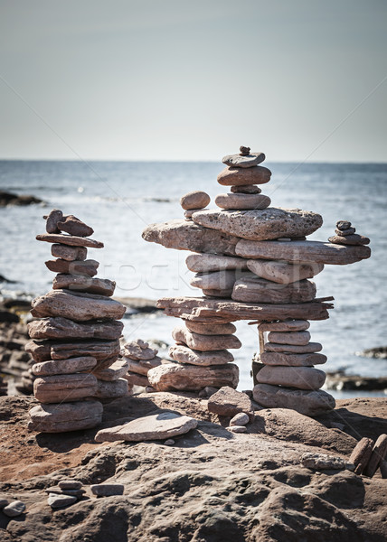 Two stacked stone cairns Stock photo © elenaphoto