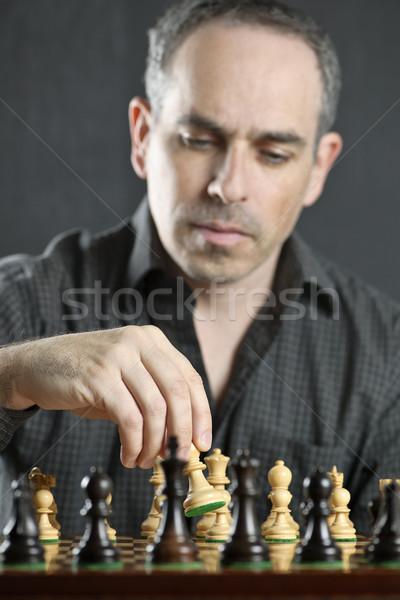 Man playing chess Stock photo © elenaphoto