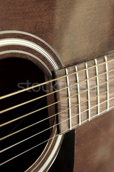 Old guitar close up Stock photo © elenaphoto