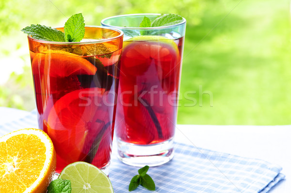 Fruit punch in glasses Stock photo © elenaphoto