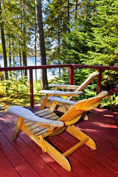 Foto stock: Floresta · casa · de · campo · convés · cadeiras · árvore