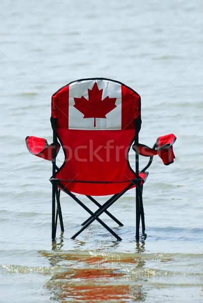 休暇 椅子 カナダの国旗 デザイン 浅い 湖 ストックフォト © elenaphoto