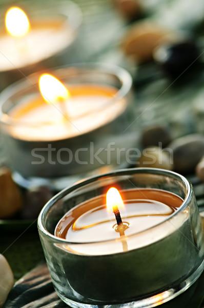 Kaarsen brandend glas groen blad licht groene Stockfoto © elenaphoto