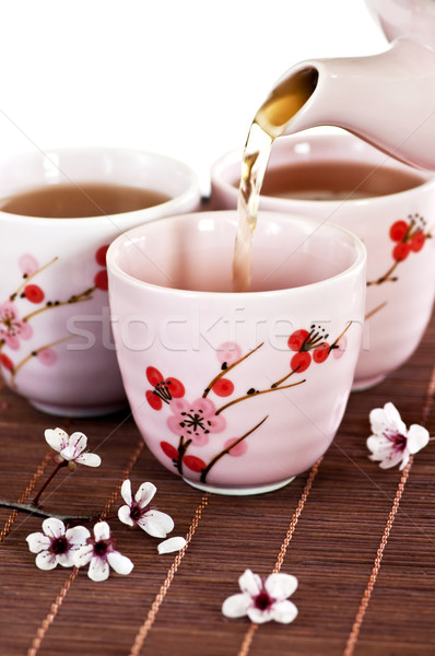 Stock photo: Pouring green tea