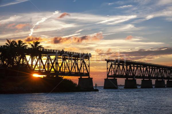 Trilho ponte Flórida teclas pôr do sol ver Foto stock © elenaphoto