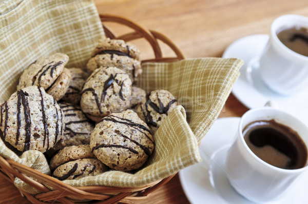 Cookies fraîches sandwich panier espresso café Photo stock © elenaphoto
