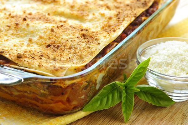 Stok fotoğraf: Lazanya · taze · parmesan · peyniri · cam · restoran