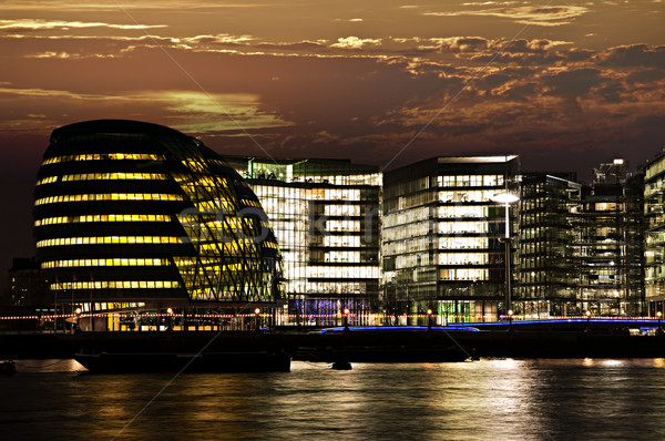 London city hall at night Stock photo © elenaphoto