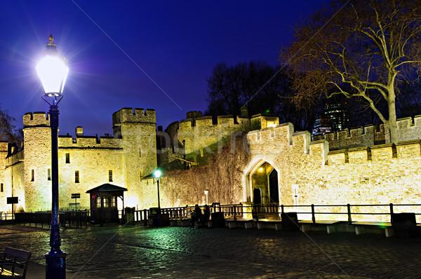 Tower of London walls at night Stock photo © elenaphoto