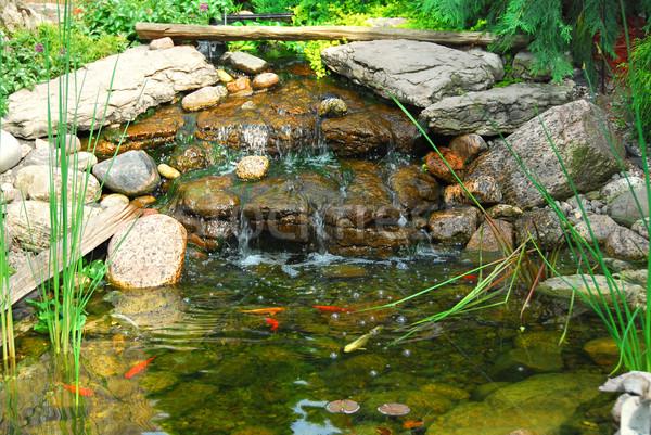 пруд природного каменные озеленение воды Сток-фото © elenaphoto