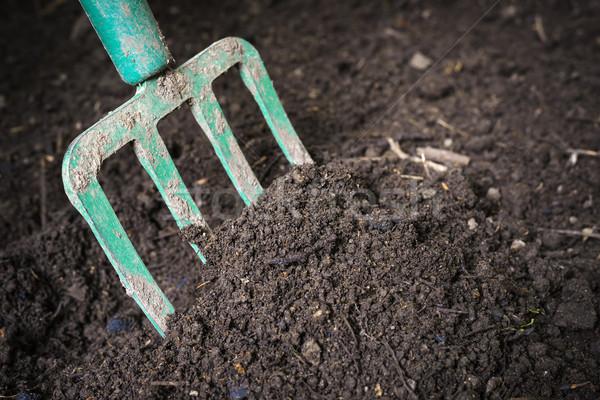 庭園 フォーク 土壌 黒 準備 ストックフォト © elenaphoto