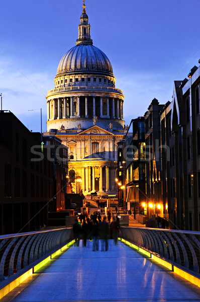 St. Paul's Cathedral  from Millennium Bridge in London at night Stock photo © elenaphoto